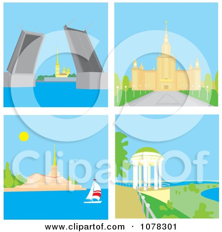 Clipart St Petersburg Russia Rising Bridge Moscow University Sochi Seaport And Yaroslavl Summer House - Royalty Free Vector Illustration by Alex Bannykh