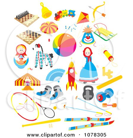 Clipart Set of Toys - Royalty Free Vector Illustration by Alex Bannykh