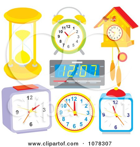 Clipart Of A Black And White Cuckoo Clock