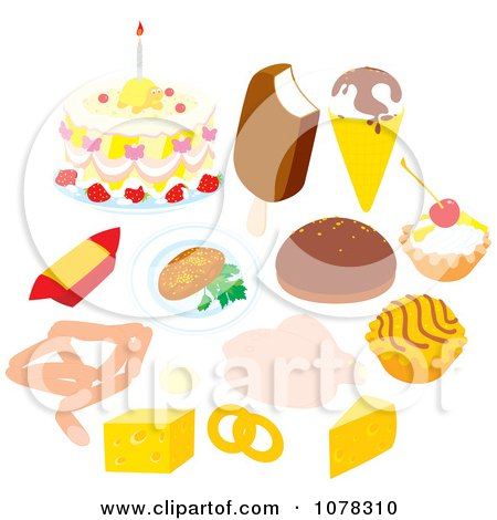 Clipart Set Of Desserts Dairy And Meat - Royalty Free Vector Illustration by Alex Bannykh