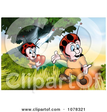 Clipart Ladybug Girl Holding A Heart And Watching Her Love Walk By On A Path - Royalty Free Illustration by dero