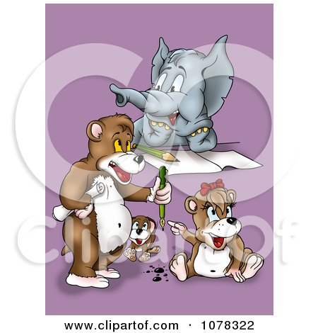 Clipart Elephant Dog And Bears Writing - Royalty Free Illustration by dero