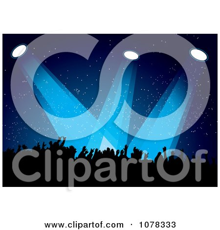 Clipart Silhouetted Concert Crowd Under Blue Lights - Royalty Free Vector Illustration by michaeltravers