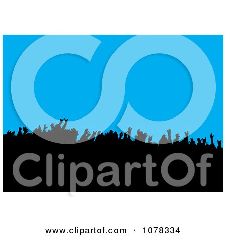 Clipart Silhouetted Concert Crowd On Blue - Royalty Free Vector Illustration by michaeltravers