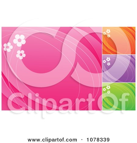 Clipart Floral Backgrounds Of Daisies On Pink Orange Purple And Green With Copyspace - Royalty Free Vector Illustration by elena