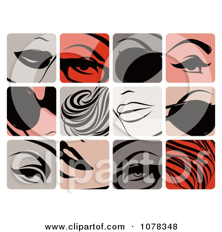 Clipart Icons Of Women With Glasses Shades Plump Lips Makeup And Hair Extensions - Royalty Free Vector Illustration by elena
