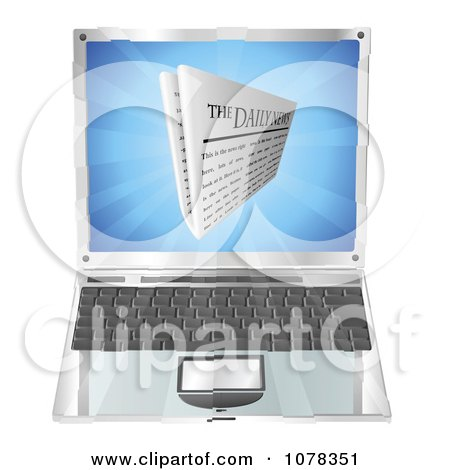 Clipart 3d Daily Newspaper Over A Laptop Computer - Royalty Free Vector Illustration by AtStockIllustration