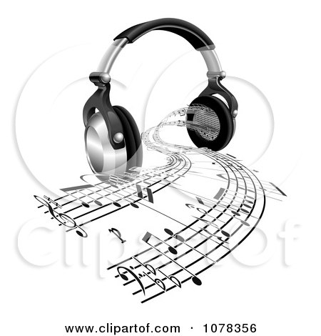 Clipart 3d Headphones With Sheet Music Streaming From Speakers