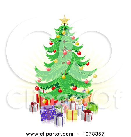 Clipart Christmas Tree And 3d Gifts Over Faint Rays - Royalty Free Vector Illustration by AtStockIllustration