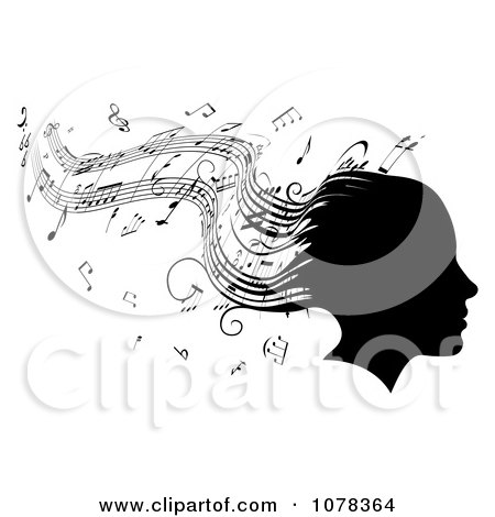 Clipart Silhouetted Womans Head With Music Sheet Hair - Royalty Free Vector Illustration by AtStockIllustration
