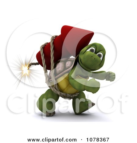 Clipart 3d Tortoise Strapped To A Fourth Of July Rocket Firework - Royalty Free CGI Illustration by KJ Pargeter