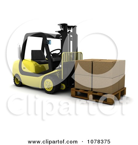 Clipart 3d Forklift Loaded With Boxes - Royalty Free CGI Illustration by KJ Pargeter