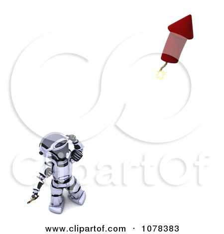 Clipart 3d Robot Lighting A Fourth Of July Firework - Royalty Free CGI Illustration by KJ Pargeter