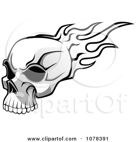 Flaming Skull Coloring Pages http://www.clipartof.com/portfolio/seamartini/illustration/black-and-white-flaming-skull-with-dark-eye-sockets-1078391.html