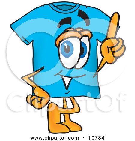 Clipart Picture of a Blue Short Sleeved T-Shirt Mascot Cartoon Character Pointing Upwards by Toons4Biz