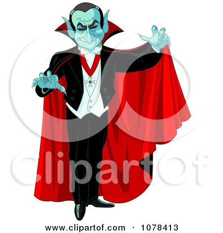 Clipart Dracula Vampire Reaching Out And Wearing A Red Cape - Royalty Free Vector Illustration by Pushkin