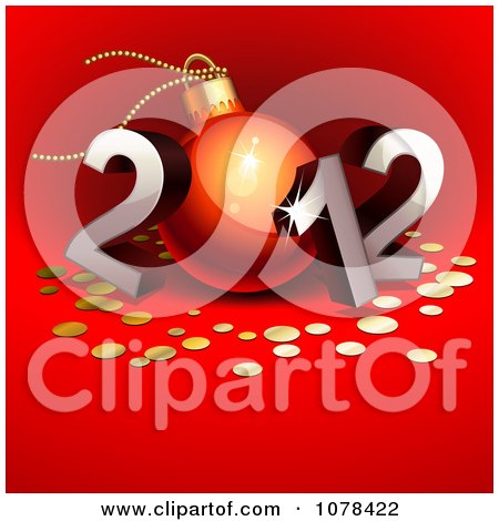 Clipart 3d Silver 2012 With A Bauble As The 0 And Gold Dots On Red - Royalty Free Vector Illustration by Oligo