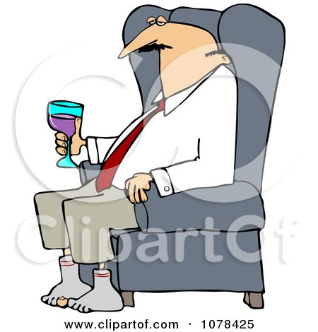 Clipart Tired Businessman Relaxing With Wine After A Long Day - Royalty Free Vector Illustration by djart