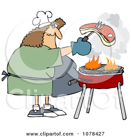 Clipart Woman Grilling Steak On A BBQ - Royalty Free Vector Illustration by djart
