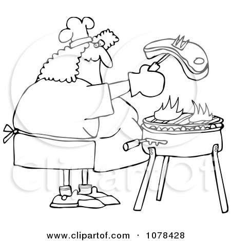 Clipart Outlined Woman Grilling Steak On A BBQ - Royalty Free Vector Illustration by djart