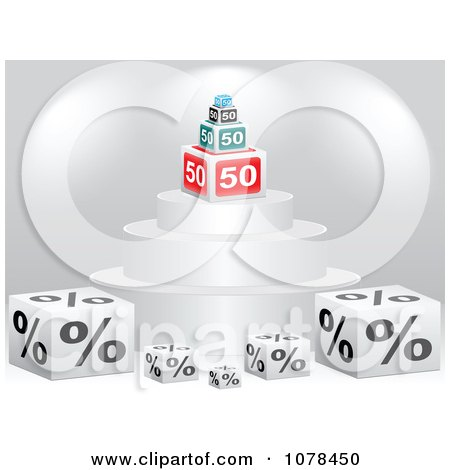 Clipart 3d Podium With Fifty Percent Discount Cubes - Royalty Free Vector Illustration by Andrei Marincas
