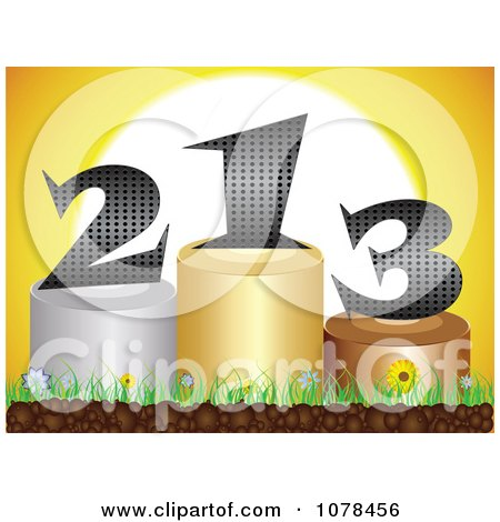Clipart 3d First Second And Third Place Podiums Against A Sunset - Royalty Free Vector Illustration by Andrei Marincas