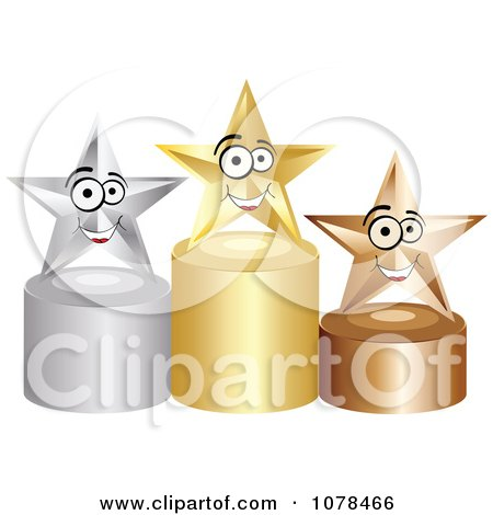 Clipart 3d First Second And Third Place Winner Stars On Gold Silver And Bronze Podiums - Royalty Free Vector Illustration by Andrei Marincas