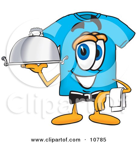 Clipart Picture of a Blue Short Sleeved T-Shirt Mascot Cartoon Character Dressed as a Waiter and Holding a Serving Platter by Toons4Biz