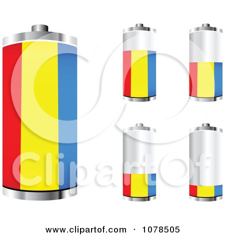 Clipart 3d Romanian Flag Batteries At Different Charge Levels - Royalty Free Vector Illustration by Andrei Marincas