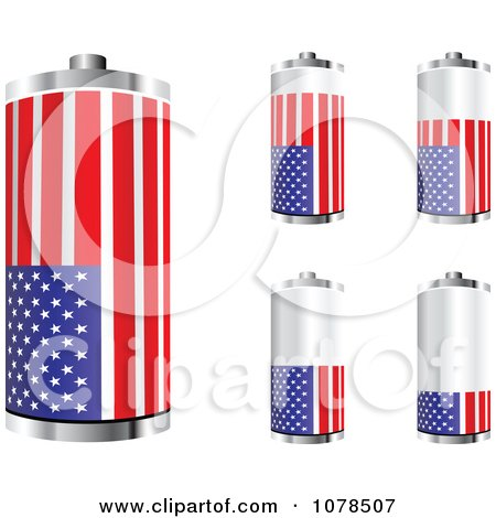 Clipart 3d American Flag Batteries At Different Charge Levels - Royalty Free Vector Illustration by Andrei Marincas