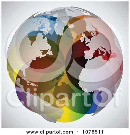 Clipart Colorful World Map Sphere - Royalty Free Vector Illustration by Andrei Marincas