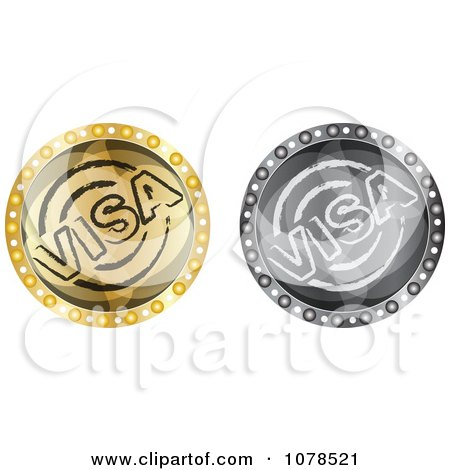 Clipart Silver And Gold Visa Icons - Royalty Free Vector Illustration by Andrei Marincas