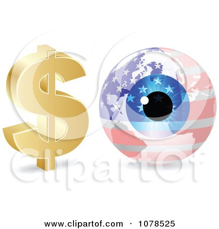 Clipart 3d Dollar Symbol And American Eye Globe - Royalty Free Vector Illustration by Andrei Marincas