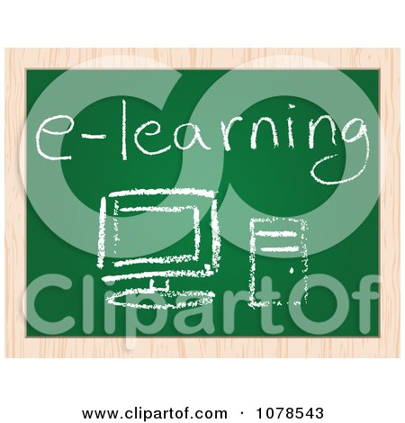 Clipart E Learning Pc Computer Drawing On A Chalk Board - Royalty Free Vector Illustration by Andrei Marincas