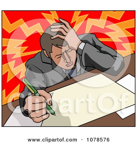Clipart Stressed Businessman With A Headache Working On Documents - Royalty Free Vector Illustration by AtStockIllustration