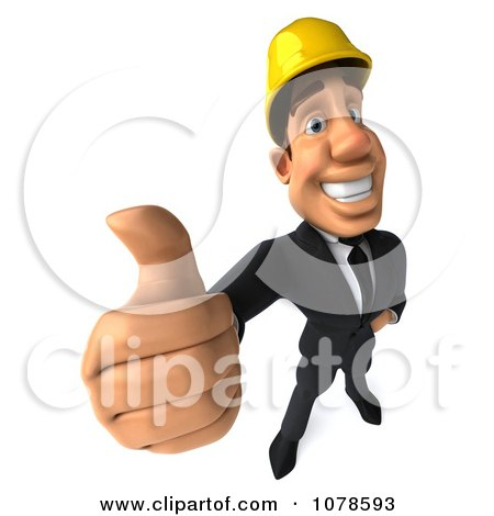Clipart 3d Strong Builder Man Holding A Thumb Up - Royalty Free CGI Illustration by Julos