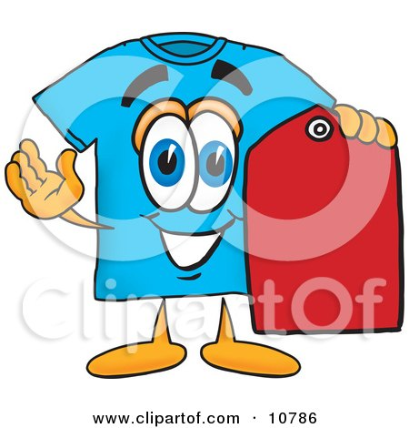 Clipart Picture of a Blue Short Sleeved T-Shirt Mascot Cartoon Character Holding a Red Sales Price Tag by Toons4Biz