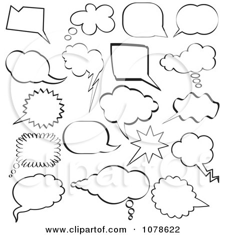 Clipart Black And White Sketched Speech And Thought Bubble Design Elements - Royalty Free Vector Illustration by KJ Pargeter