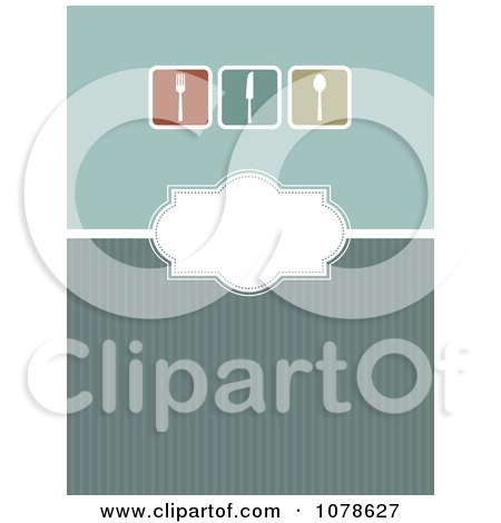 Clipart Green Menu Design With Silverware On Green - Royalty Free Vector Illustration by KJ Pargeter