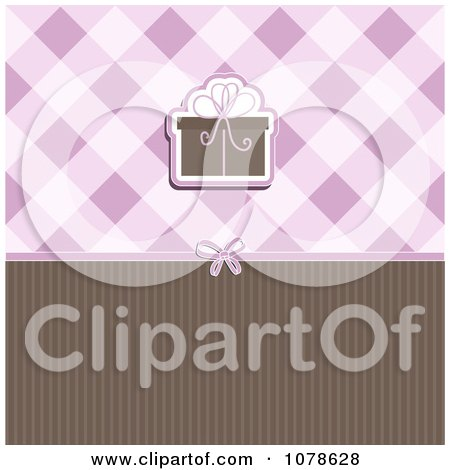 Clipart Brown And Purple Gift Background With Plaid And Stripes - Royalty Free Vector Illustration by KJ Pargeter