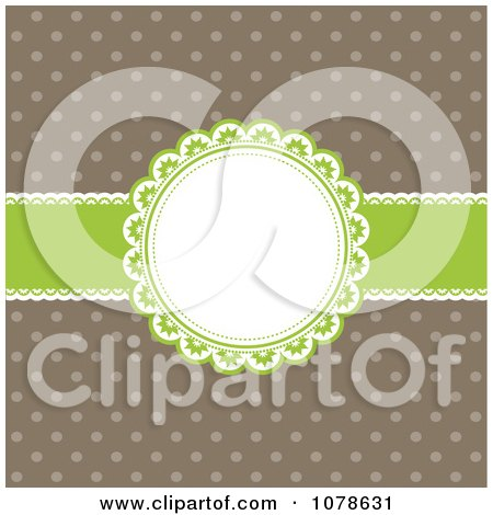 Clipart Retro Green And Brown Polka Dot And Ribbon Frame Invitation Background - Royalty Free Vector Illustration by KJ Pargeter