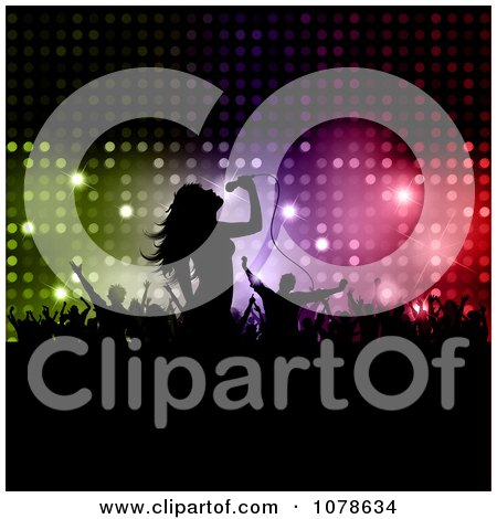 Clipart Silhouetted Female Singer And Concert Fans Over Colorful Lights - Royalty Free Vector Illustration by KJ Pargeter