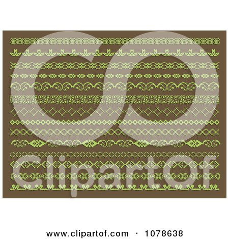 Clipart Green And Brown Page Borders And Rules - Royalty Free Vector Illustration by KJ Pargeter