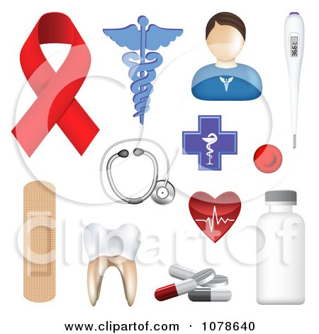 Clipart 3d Medical Icons - Royalty Free Vector Illustration by vectorace