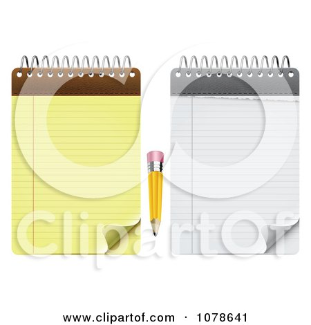 Clipart Stubby Pencil With White And Yellow Notepads - Royalty Free Vector Illustration by vectorace