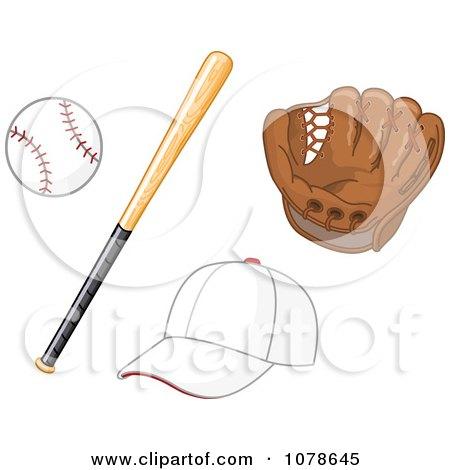 Clipart Baseball Bat Glove And Hat - Royalty Free Vector Illustration by yayayoyo