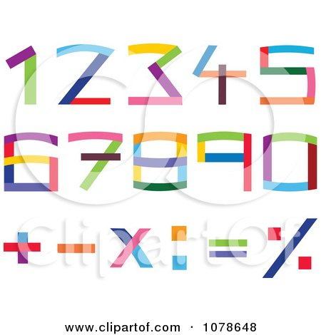 Clipart Colorful Numbers And Math Symbols - Royalty Free Vector Illustration by yayayoyo