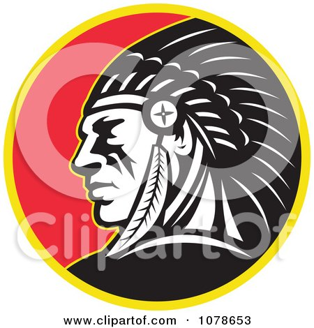 Clipart Retro Native American Indian Chief Circle Logo - Royalty Free Vector Illustration by patrimonio