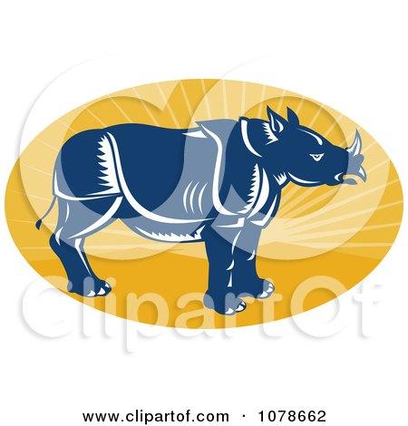 Clipart Retro Blue Rhino Profile On A Yellow Ray Oval Logo - Royalty Free Vector Illustration by patrimonio