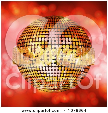 Clipart 3d Golden 2012 New Year Disco Ball Over Red Sparkles - Royalty Free Vector Illustration by elaineitalia